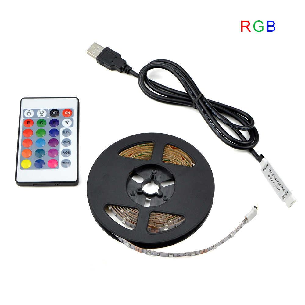 5 в USB мощность светодиодные полосы света RGB/белый/теплый белый 2835 3528 SMD HD ТВ Настольный ПК экран подсветка и светильник 1 м 2 м 3 м 4 м