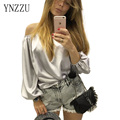 YNZZU 2016 Fall New European Style Women Shirt Fashion Slash Neck Tube Tops Lantern Sleeve Silk blusas femininas baratas YT114