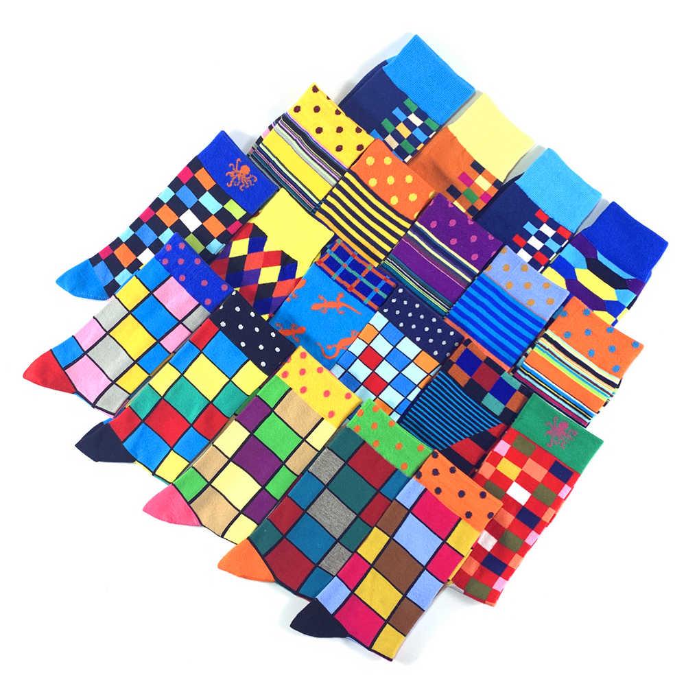 2019 новые мужские носки красочные модные дизайнерские высококачественные чесаные хлопковые геометрические сетчатый полосатый мужские деловые повседневные счастливые носки