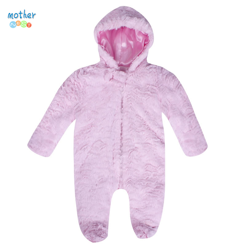 2017 Mother nest Newborn Girl Winter Rompers Baby Boys Clothes Toddler Rompers Kids Warm Hooded Jumpsuit Infant Outwear winter baby snowsuit baby boys girls rompers infant jumpsuit toddler hooded clothes thicken down coat outwear coverall snow wear