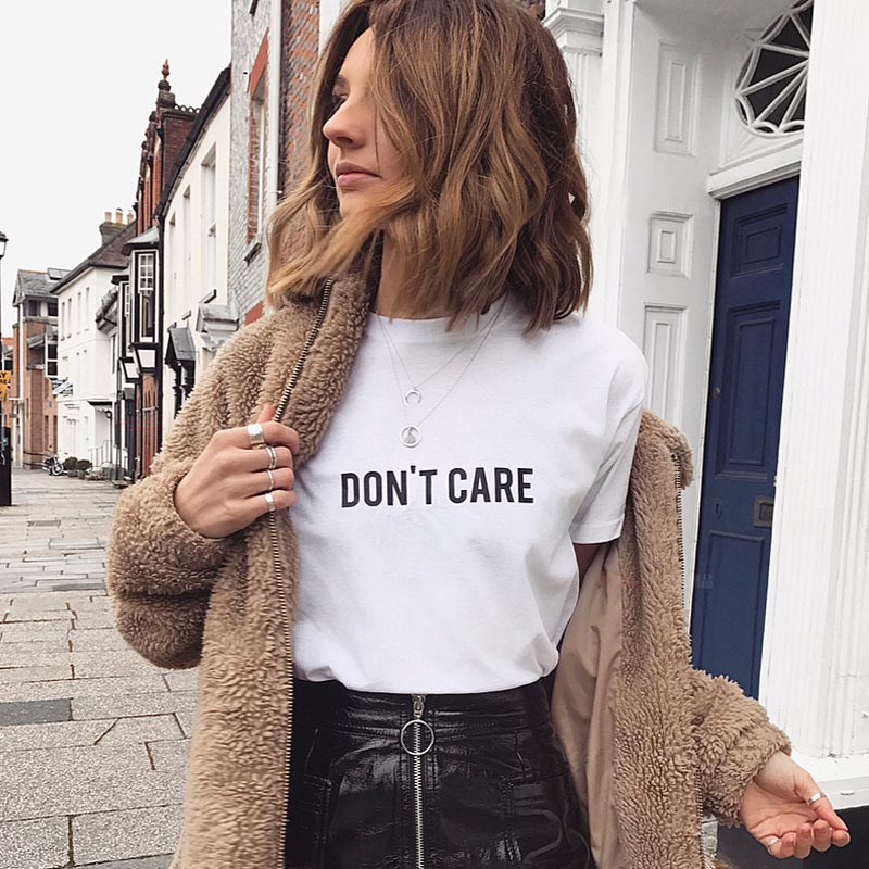 Don't Care Women Tshirt Cotton Casual Funny T Shirt Gift For Lady Yong Girl Top Tee Drop Ship S-722
