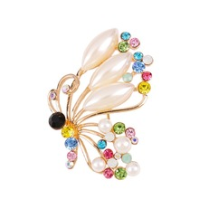 New Arrival Brooches For Women Fashion Gold Color Butterfly Rhinestone Brooch Women Brooches Men Jewelry X0044