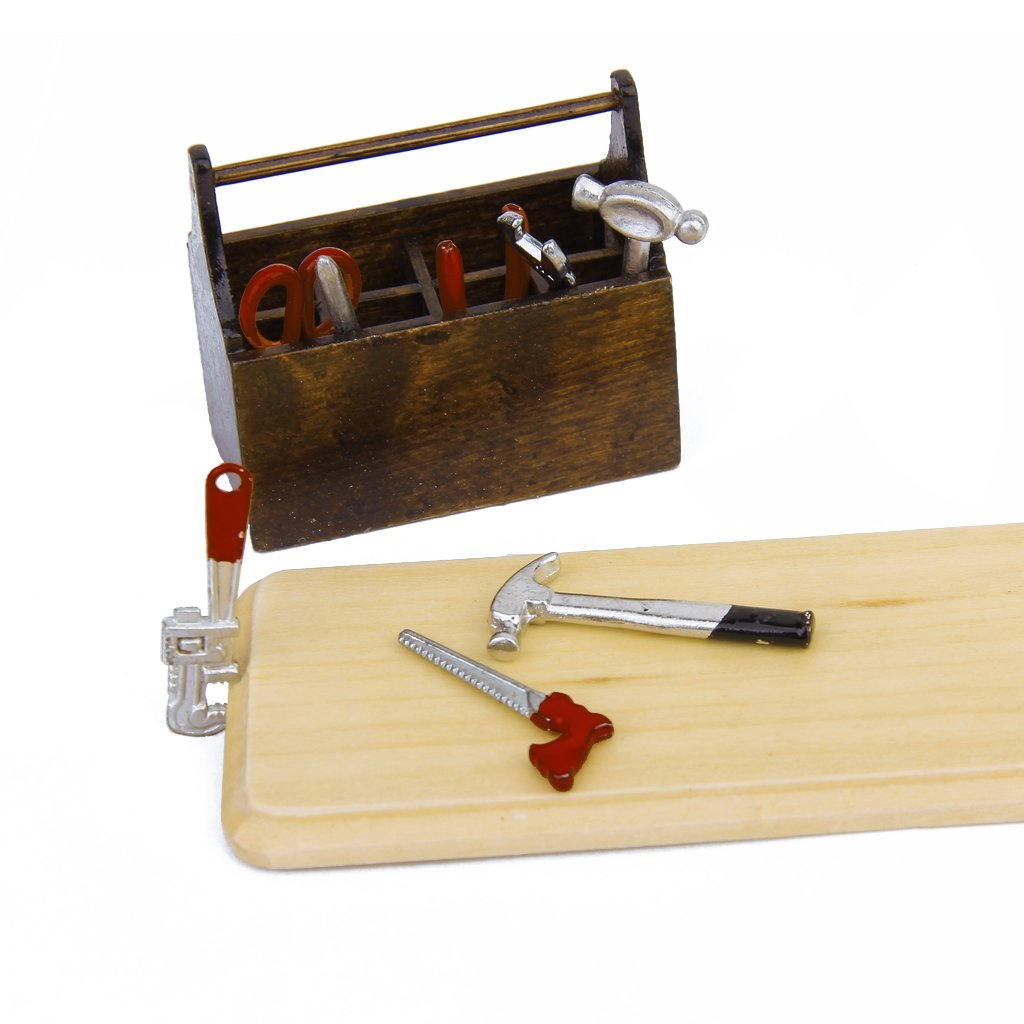 New 1/12 Dollhouse Miniature Wooden Box With Metal Tool Set