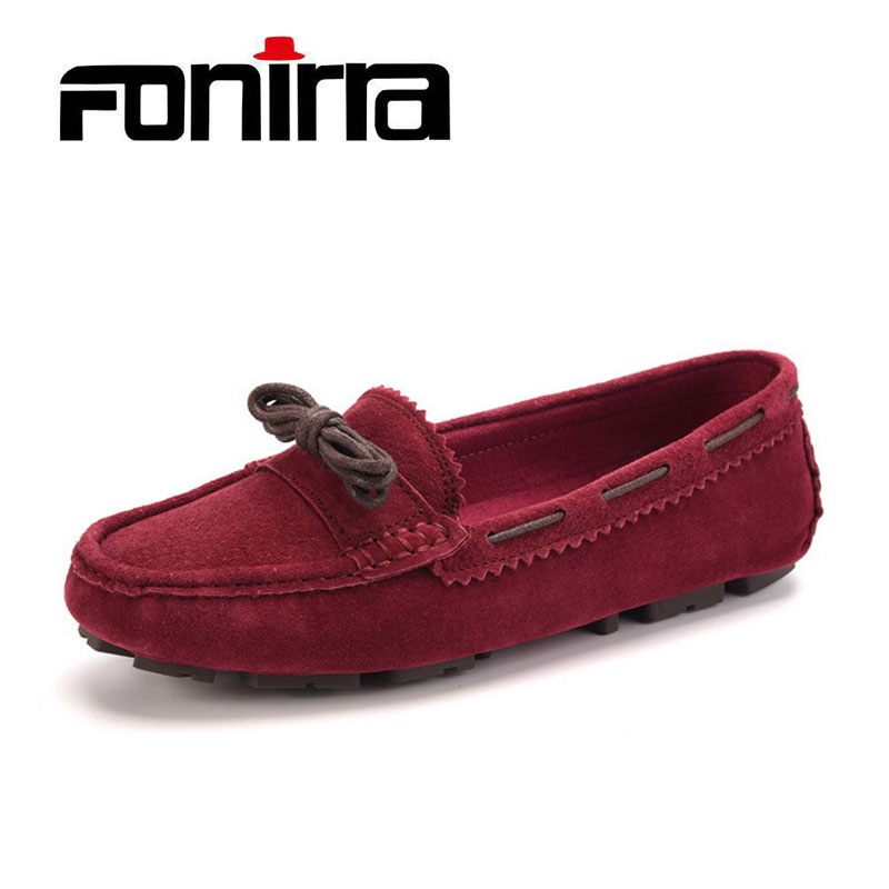 Shoes Woman Genuine Leather Women's Flat Shoes Butterfly Knot Casual Loafers Slip On Women Shoes Flats Soft Moccasins FONIRRA158 flats shoes woman loafers casual women shoes slip on butterfly knot fashion 2017 walking flats women low shallow mouth summer