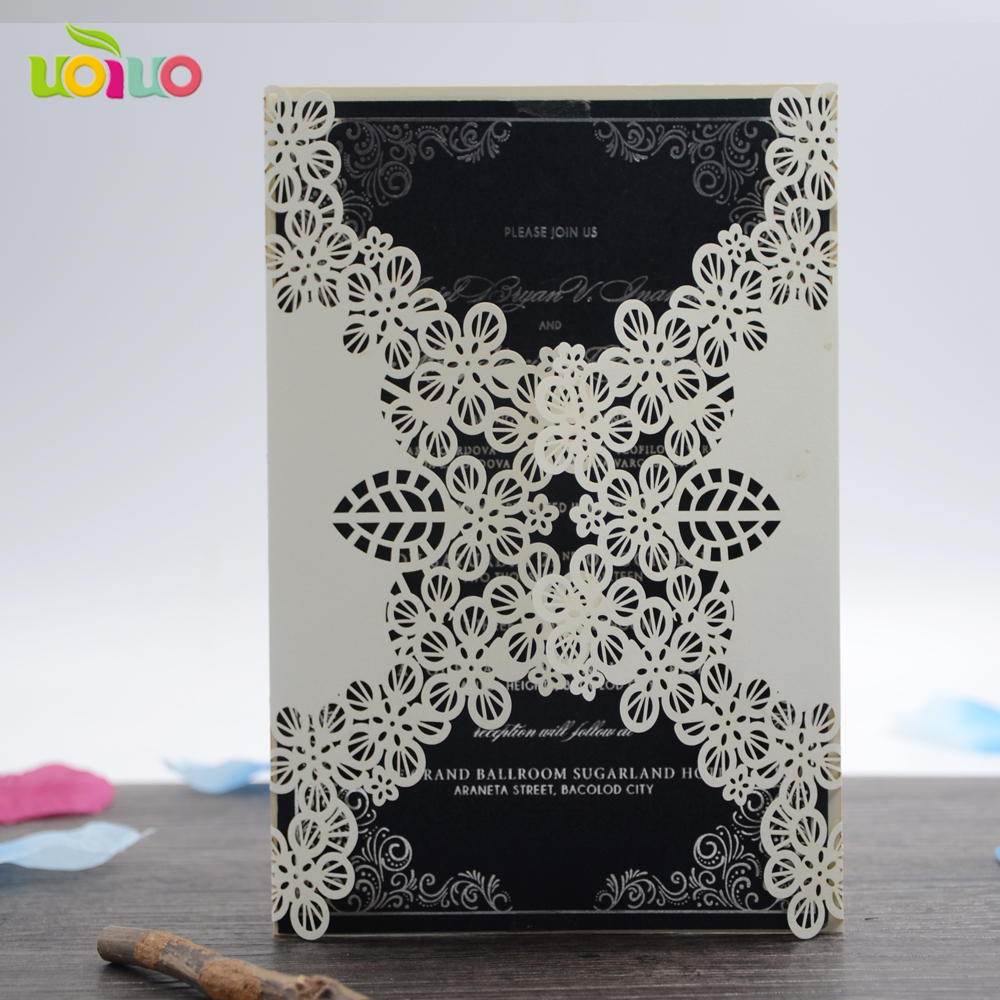 Us 7 3 10 Laser Cut Floral Wedding Invitation Card With Insert Paper And Envelop In Cards Invitations From Home Garden On Aliexpress