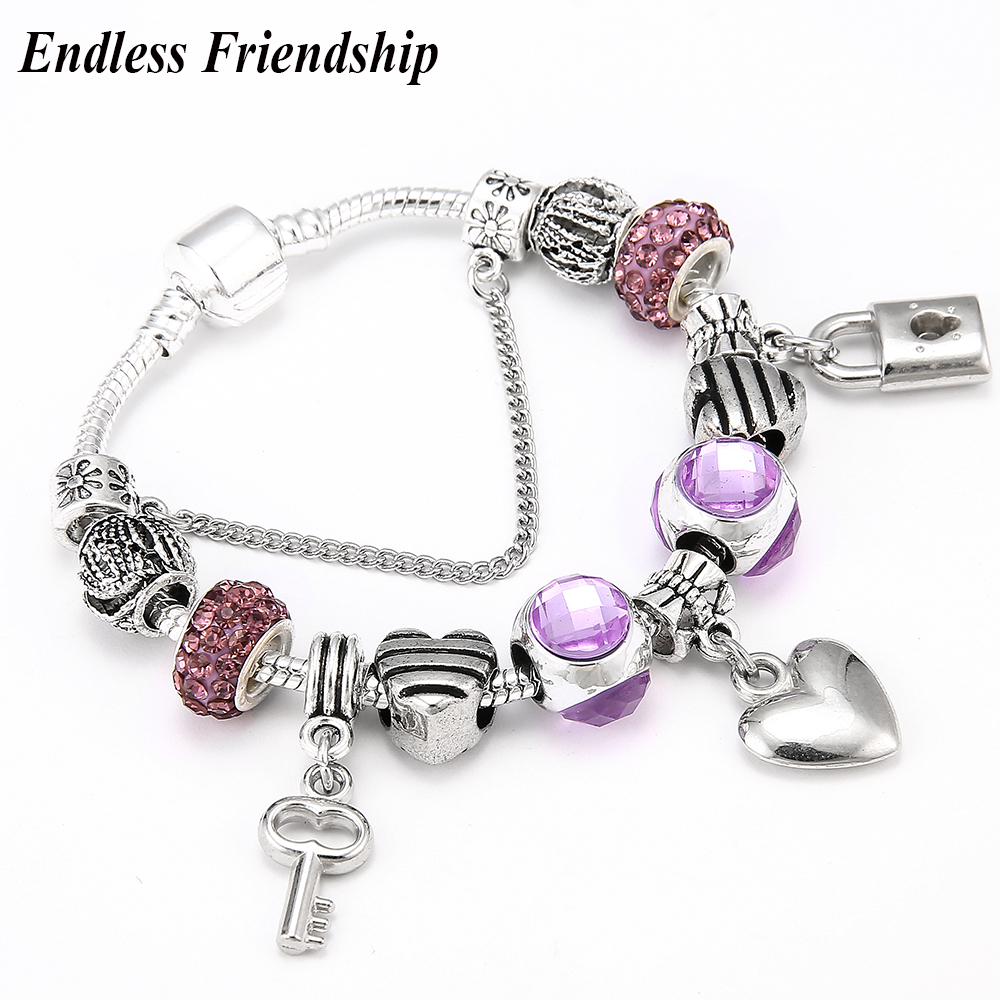 Dropshipping Love Heart Key and Lock Pandora Bracelet Romantic Love DIY Charm Bracelet for Women Jewelry Gift
