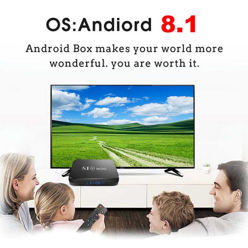 S10 мини ТВ приставка Android 8,1 Смарт ТВ приставка 2 Гб 16 Гб Amlogic S905W Четырехъядерный 4K ТВ приставка 2,4G wifi медиаплеер PK X96 мини