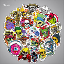 50Pcs Skull Terror Mixed Retro Rock Band Music Stickers Skateboard Suitcase DIY Waterproof  for Car Motorcycle Bicycle