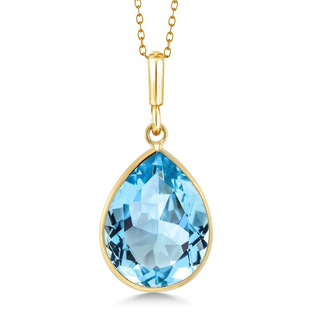 7aa0c44346841a Aliexpress.com : Buy GemStoneKing Pear Shape 27.00 ctw Natural Blue Topaz  Jewelry Set For Women 14K Yellow Gold Gemstone Pendant & Earring Set from  Reliable ...