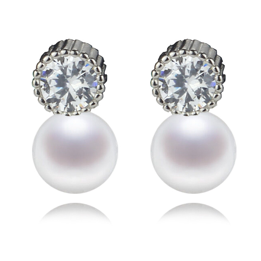 SNH AAA 7mm round sterling silver real natural freshwater pearl earrings genuine cultured pearl jewelry earrings for women gift