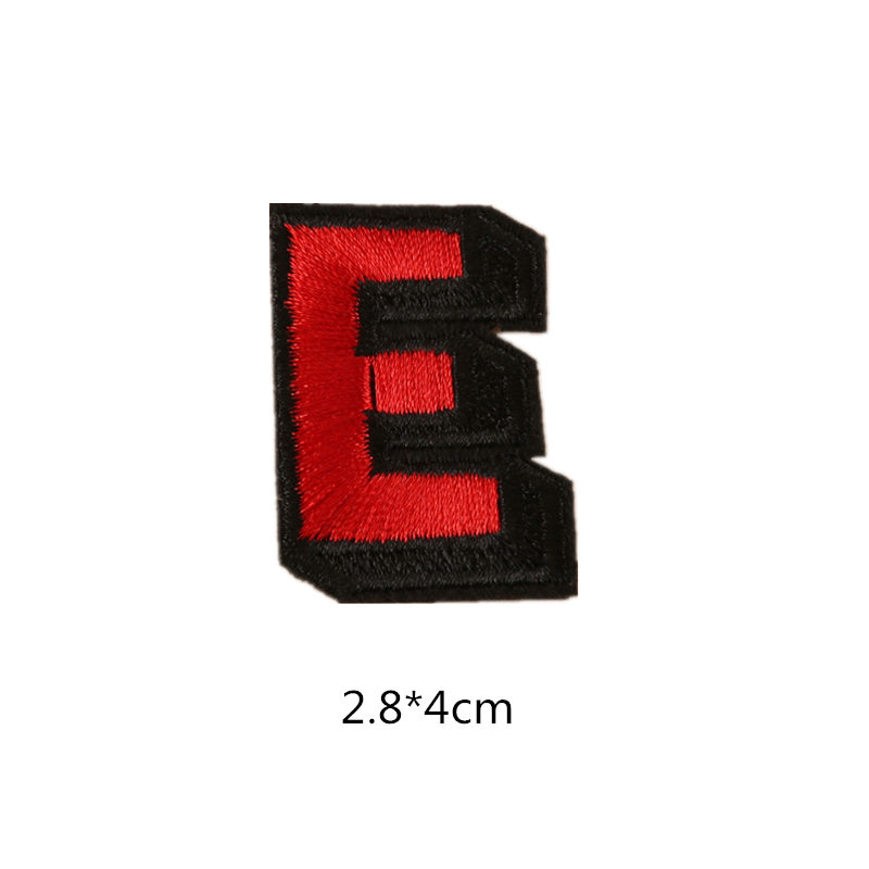 """LETTERS Iron On Embroidered Applique Red Sequin  2/"""" Letter /""""B/"""""""