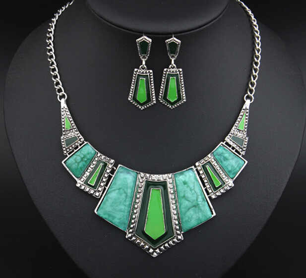Ahmed Jewelry Punk Trendy Vintage Crystal Colorful Drip Pendants Necklaces and Earrings Jewelry Set For Woman 2015 New Gift S62