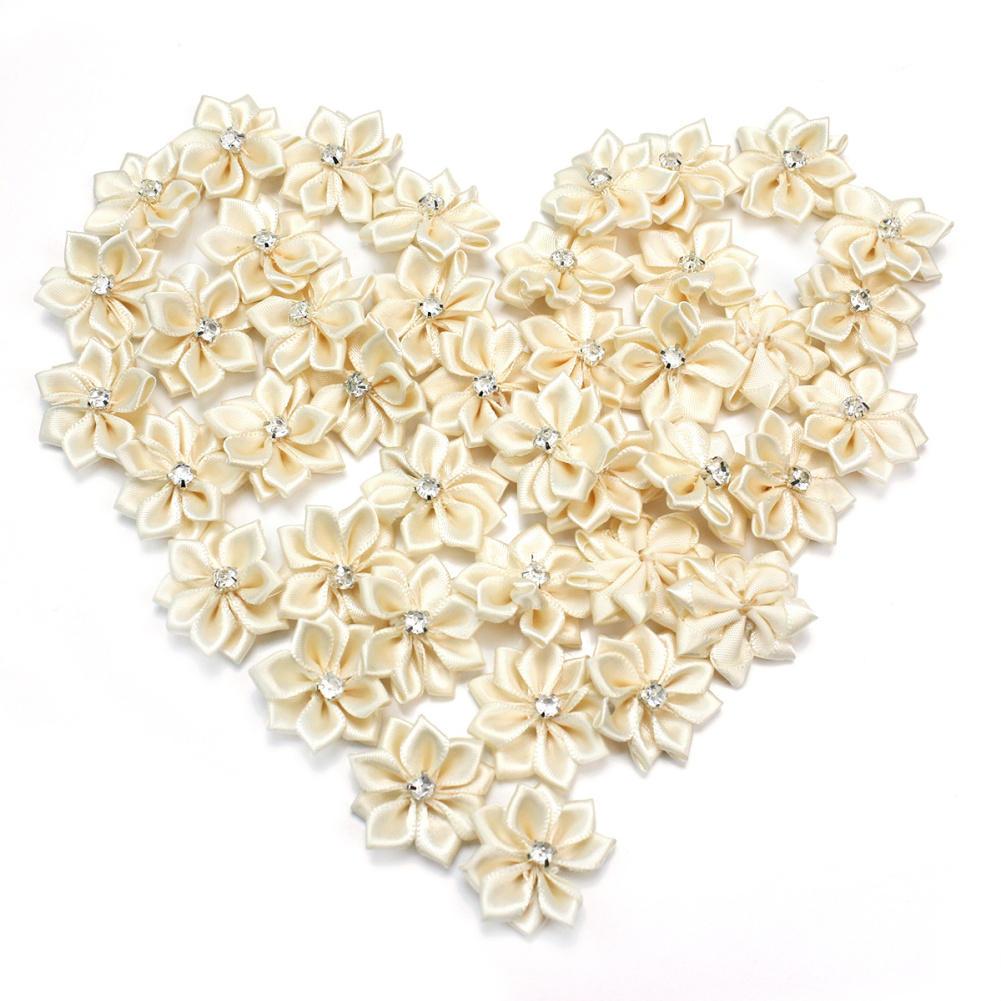 40 Pcs Satin Ribbon Flowers Appliques Craft Wedding Party Sewing DIY Decoration
