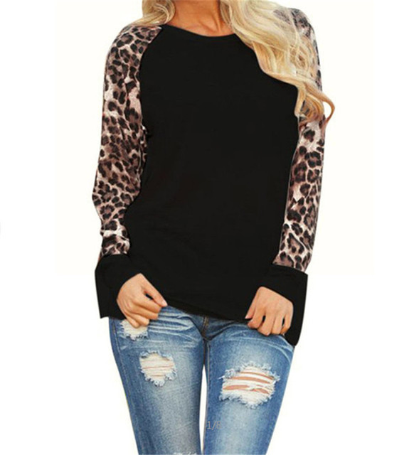 Rogi Leopard Womens Tops And Blouses 2017 Long Sleeve Blouse Patchwork Shirt Tunic Tee Shirt Femme Blusas Mujer Plus Size S-5XL