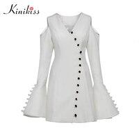 Kinikiss Women White Elegant Single Breasted Dress Open Shoulder V Neck Long Flare Sleeve Lady Fashion