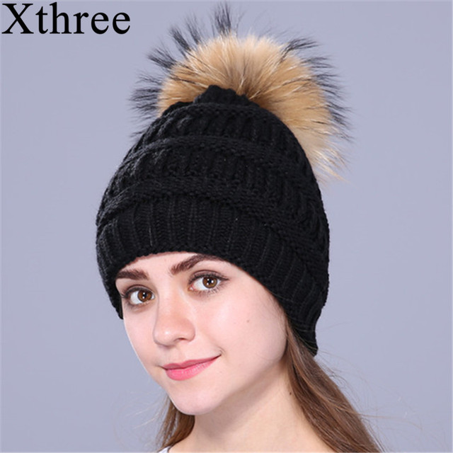 a6ec4311e30322 Xthree real fox fur pom poms ball Keep warm winter hat for women girl 's  wool hat knitted beanies cap thick female cap