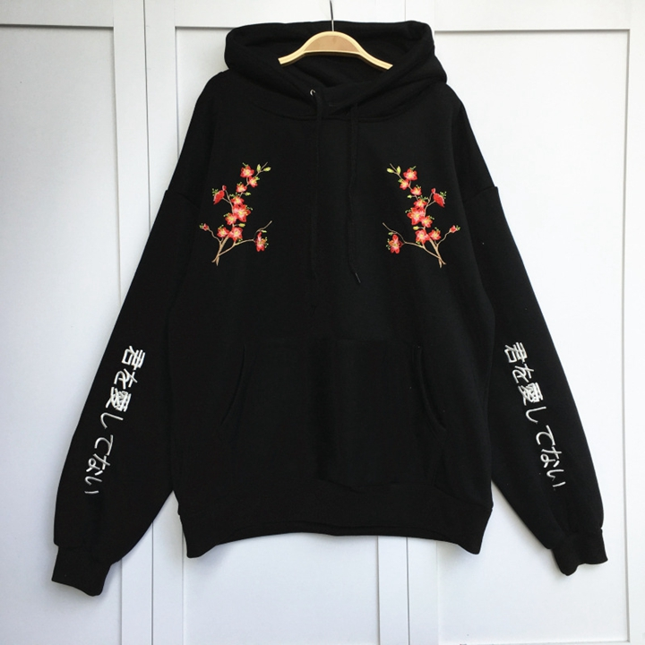 Tumblr Hoodies Tracksuit Clothing Women Hoodies 2018 New Flower Embroidery Pullovers Casual Loose Thick Hoody ...