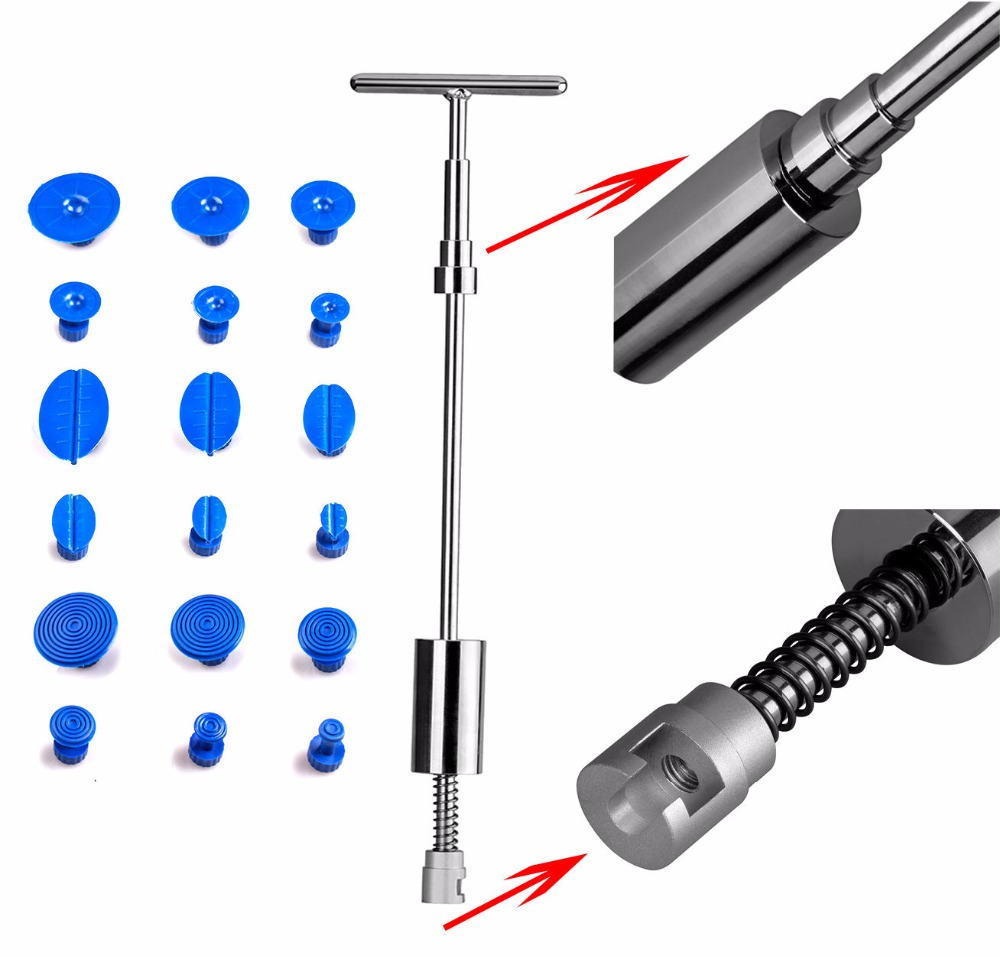 PDR Tools Slider Hammer Dent Puller Kit Suction Cups Glue Tabs Paintless Dent Repair Auto Repair Tool Kit Ferramentas 19 pcs/set  paintless dent repair tool pdr kit dent lifter glue gun line board slide hammer dent puller glue tabs suction cup pdr tool set