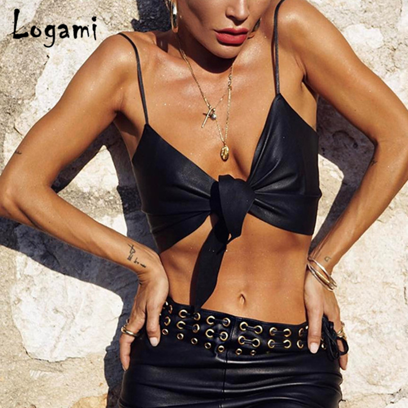 LOGAMI Spaghetti Strap Sexy Crop Top Off Shoulder Tank Top Woman Clothes Sleeveless Summer Top Black