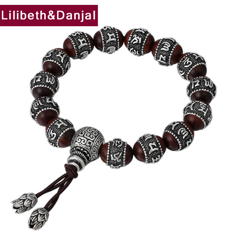 2019 Couple Bracelet 100% 925 Sterling Silver Jewelry Women Ethnic Buddha Mantra Bead Sandalwood friendship Bracelet Bangle B59