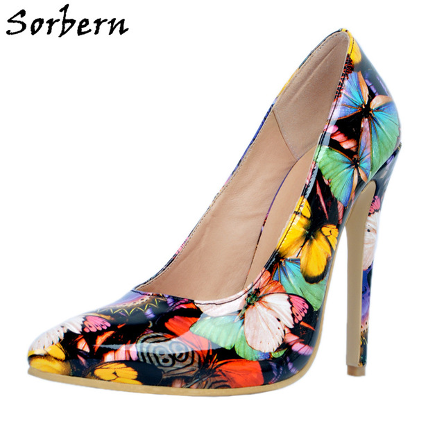 0e8956d239 Sorbern Pointed Toe Butterfly Print Women Pump High Heels Size 4 High Heels  Shoes Woman Diy Red Bottom Plus Size Christmas Gift