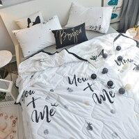 3/4 piece Cotton Bedspread Cartoon penguin rabbit print Throws quilt summer thin Comforter stiching Duvet Quilt Filling