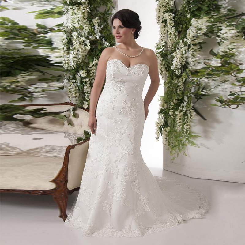 Elegant Shinny Lace Mermaid Wedding Dresses Plus Size