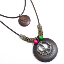 Best Cheap Long Punk Necklace Peace Symbol