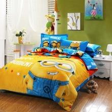 100% juegos de cama de algodón minion niños rosa colchas de dibujos animados ropa de cama duvet cover set ropa de cama tamaño king queen twin