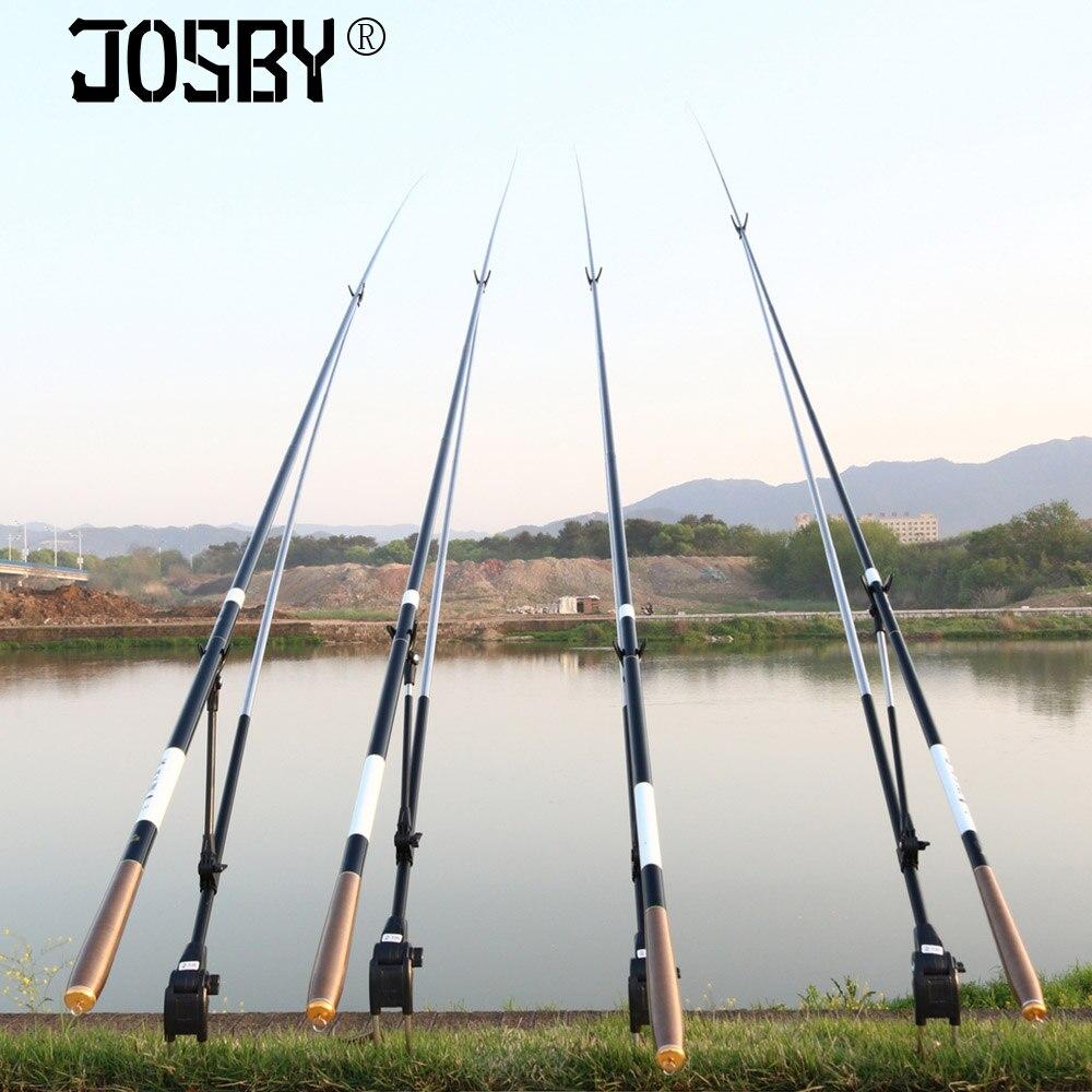 JOSBY Alimentador Carpa Vara De Pesca Telescópica De Fibra De Carbono Rods Rods Enfrentar Mão Pólo 3.6-7.2 m Fluxo Vara De pesca