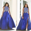 2017 High Slit Royal Blue Prom Dress Beaded Stones Crop Top High Neck Prom Dress A Line Two Pieces Arabic Long Prom Dresses