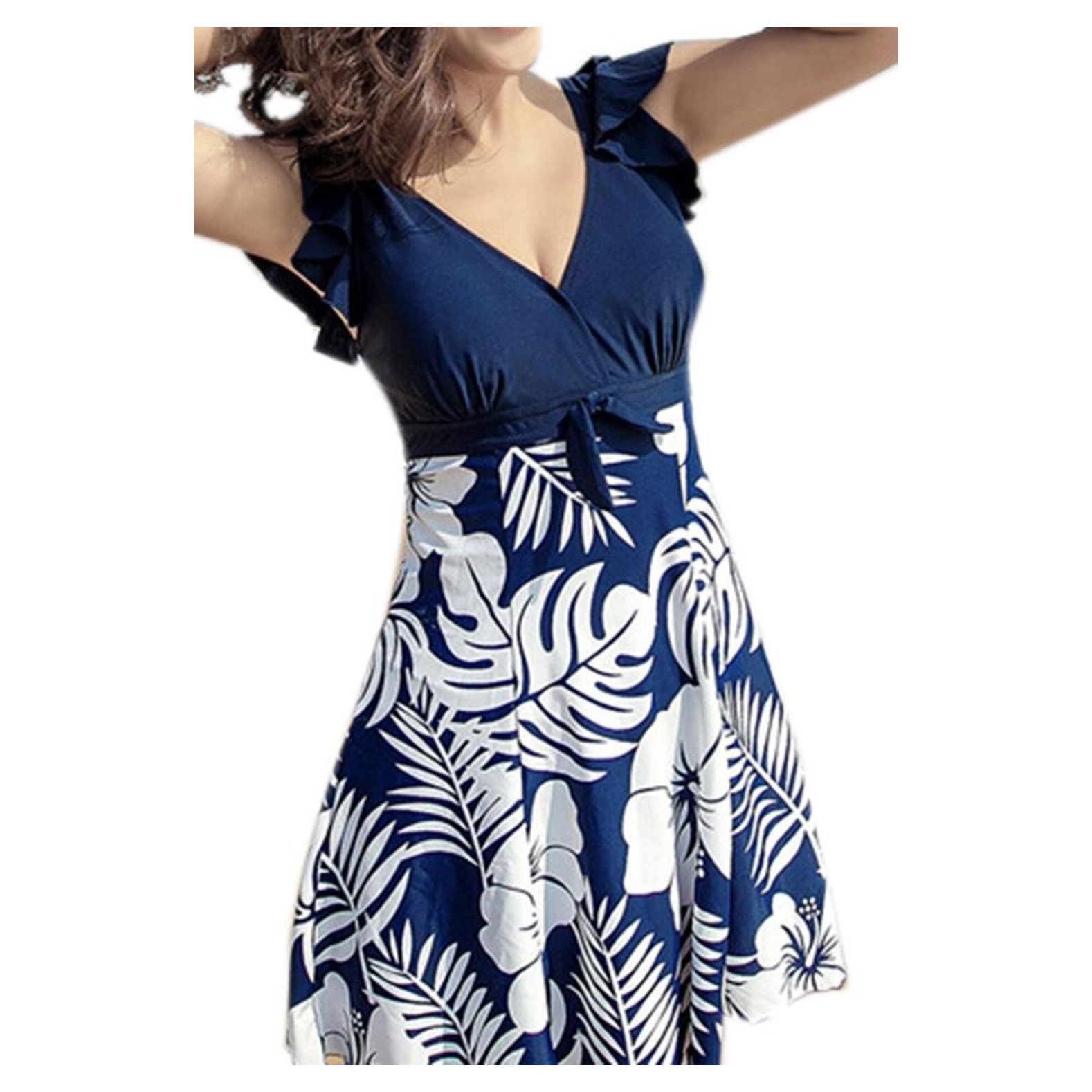 Hot Women's Halter Shaping Body One-Piece Swimsuit Plus Size Swimwear Navy Blue XL color block halter shaping one piece swimwear
