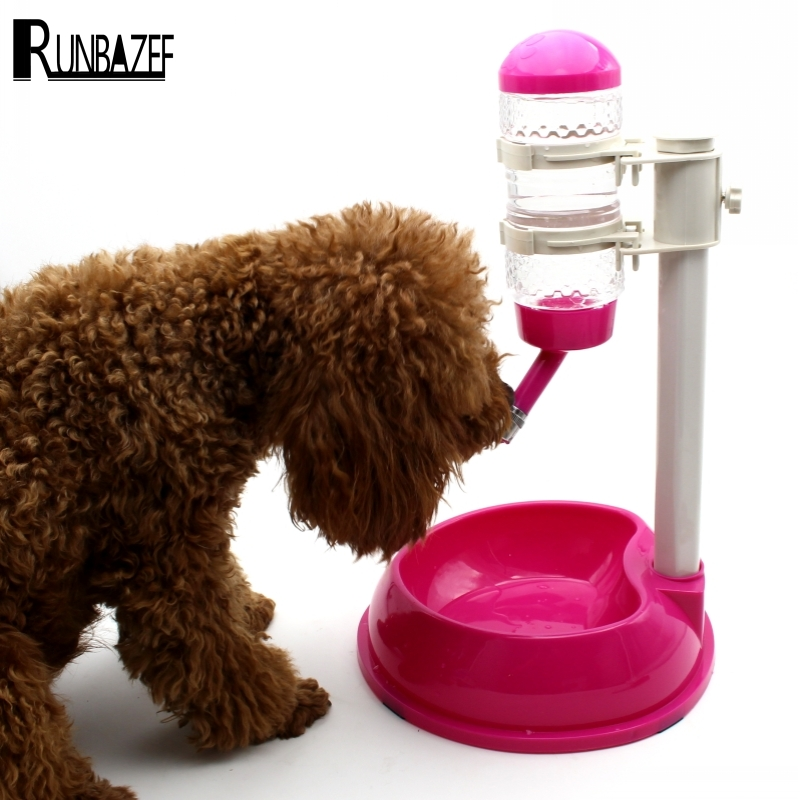 RUNBAZEF Automatic <font><b>Water</b></font> Dispenser Stand Feeder Bottle Plastic Dog Cat Drinking Fountain <font><b>Food</b></font> Dish Pet