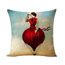 Nordic Style Cushion Cover Dog Cartoon Printed Cotton Linen Valentine Pillow Covers Decorative Pillowcase For Sofa Car Jojo Siwa недорого