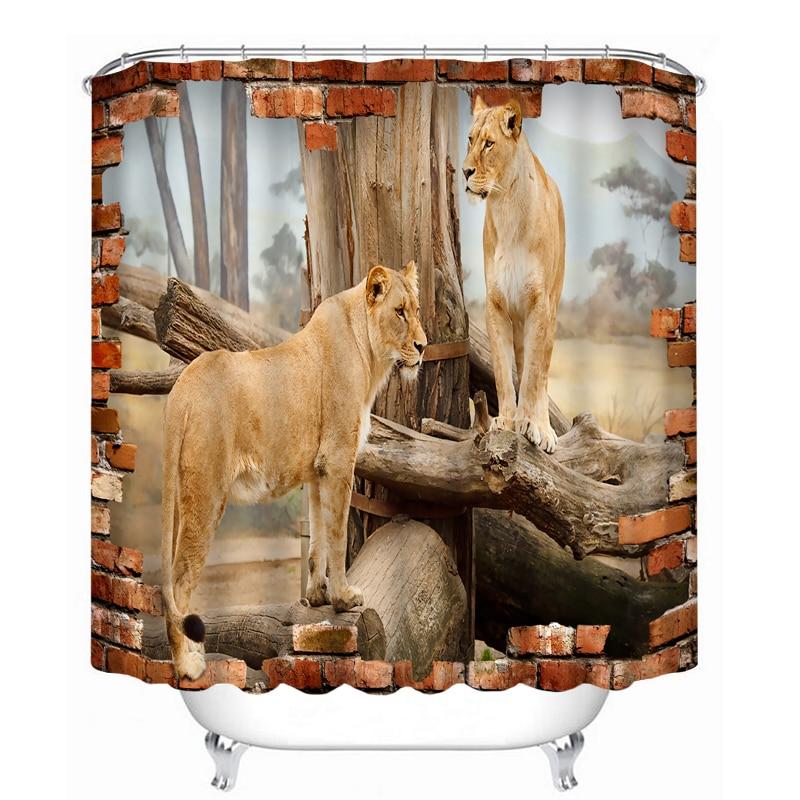 MYRU 3D Print Waterproof Lion Shower Curtains Bath