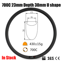 Catazer Road Bike Full Carbon Fiber 700C 23mm Wide 38mm Clincher UD Rim U Shape For