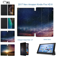 MTT Print Polar Lights Cover For New Amazon Kindle Fire HD 8 2017 Version 7th Generation