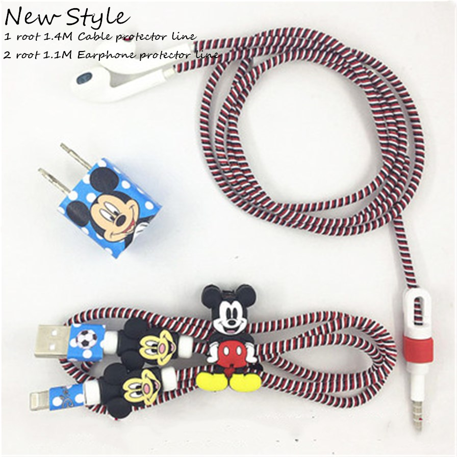 1.1M&1.4M Cute Cartoon USB Cable Earphone Protector Set With Cable Winder Stickers Spiral Cord Protector For iphone 5 6 6s 7plus
