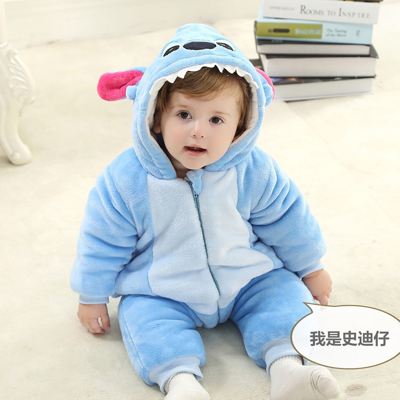 Winter Baby Clothes Infant Romper Baby Boys Girls Jumpsuit New born Bebe Clothing Hooded Toddler Cute Animal Stitch Baby Costume