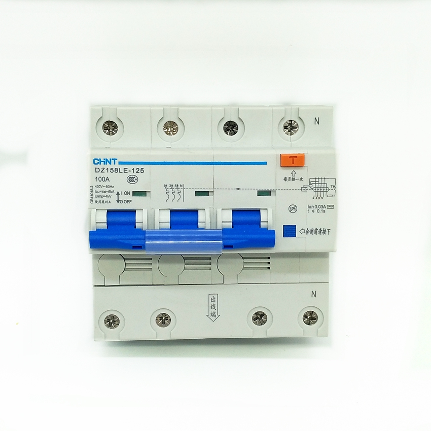 цена CHINT DZ158LE 3P+N 63A 80A 100A Earth Leakage Circuit Breaker Residual Current 30mA RCBO