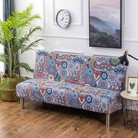 Cartoon Stretch Sofa Cover No Armrest Universal Folding Sofa Without Handrails Elastic Couch Cover All inclusive for Sofa Bed