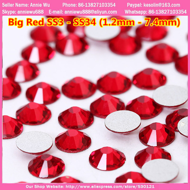 Free Shipping Good Feedback Big Red Rhinestones 1440 pcs Flatback Glass Strass Non Hotfix ss6 ss10 ss20 ss30 ss34 ss16 Crystal