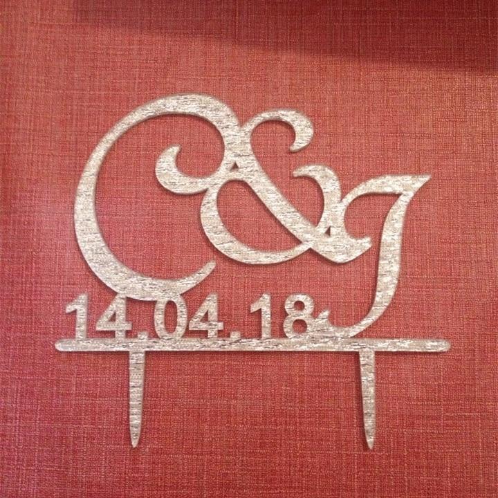 Acryl bruiloft decoratie aangepaste taart Toppers initialen taart - Feestversiering en feestartikelen - Foto 5