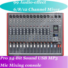 лучшая цена MICWL Pro 12 Channel Microphone Mixing Console with 99 Audio effect 24-Bit USB Studio Processor Ideal Mixer for Stage