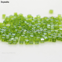 Isywaka 1980pcs Cube 2mm Olive Green Color Square Austria Crystal Bead Glass Beads Loose Spacer Bead