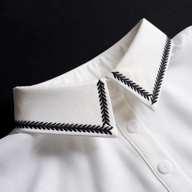 Women Fake Collar Shirt White Peter Pan Detachable Collar Ladies Tie Embroidery False Fake Collar Shirt Removable Nep Kraagie