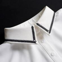 Women Fake Collar Shirt White Peter Pan Detachable Ladies Tie Embroidery False Removable Nep Kraagie
