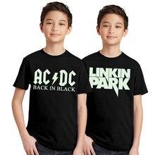 57f9310fa6bd3 2 pcs lot lumineux ACDC enfants T-shirt Fluorescent AC DC lettre Logo  impression