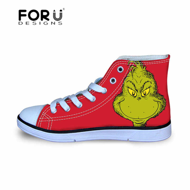 b62ac4edffef FORUDESIGNS The Grinch Printed Pattern Sneakers for Girls Children Shoes  High Top Kids Soccer Shoes Canvas