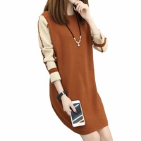 Plus Size XL XXL XXXL Fashion 2018 Women Autumn Winter New Knitted Dress Long Sleeve Loose